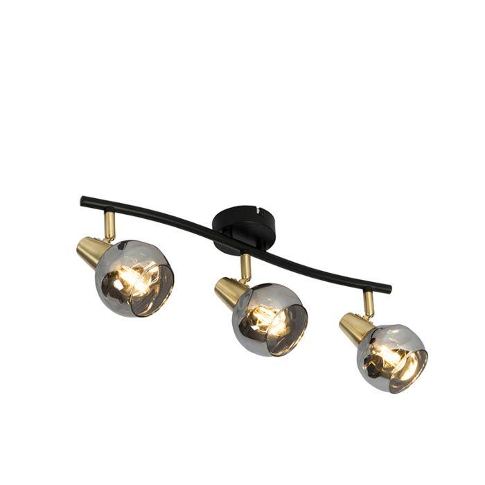 Plafondlamp-goud-56-cm-met-smoke-glas-3-lichts---Vidro