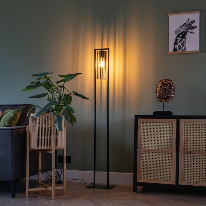 Moderne-vloerlamp-zwart---Balenco-Wazo
