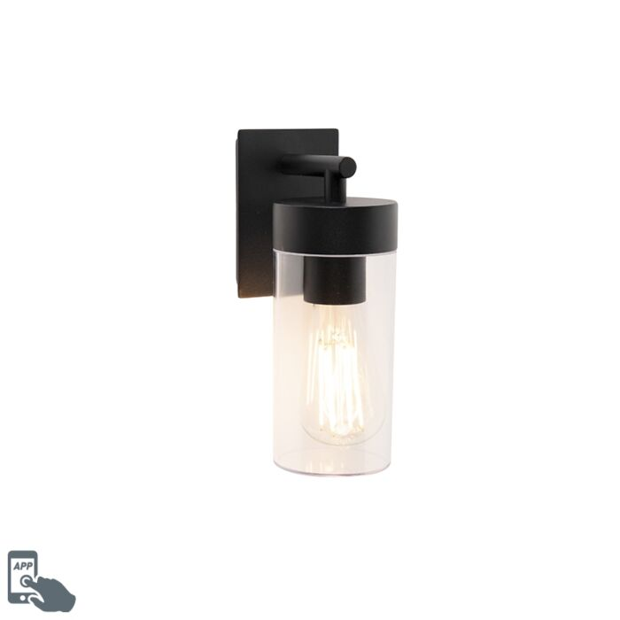 Smart-moderne-buitenwandlamp-zwart-incl.-wifi-ST64---Rullo