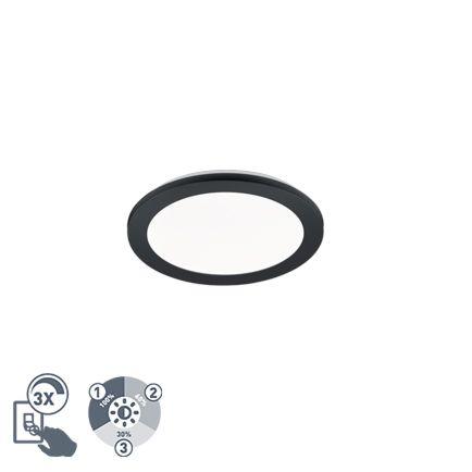 Plafonnière-rond-zwart-26-cm-incl.-LED-3-staps-dimbaar-IP44---Lope