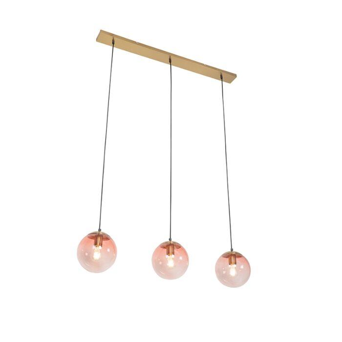 Art-deco-hanglamp-messing-met-roze-glas-3-lichts---Pallon