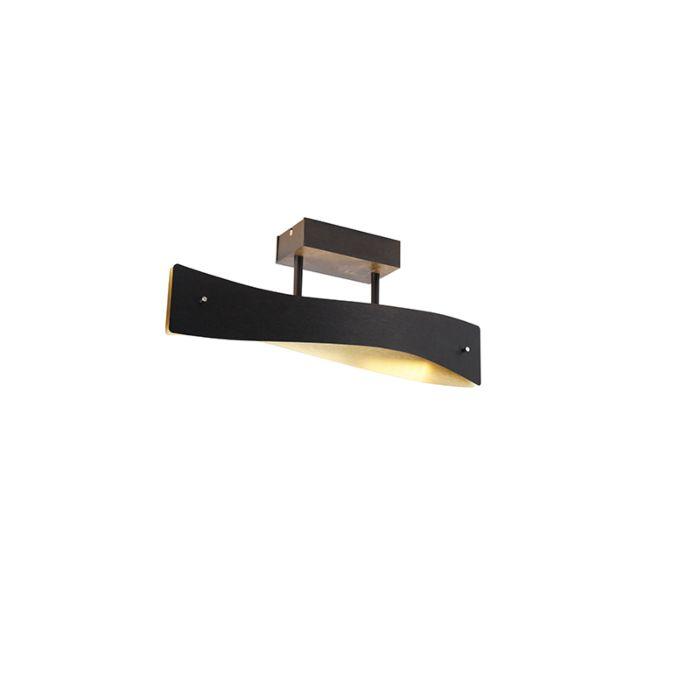 Moderne-plafondlamp-zwart-met-goud-45-cm-incl.-LED---Sjaak