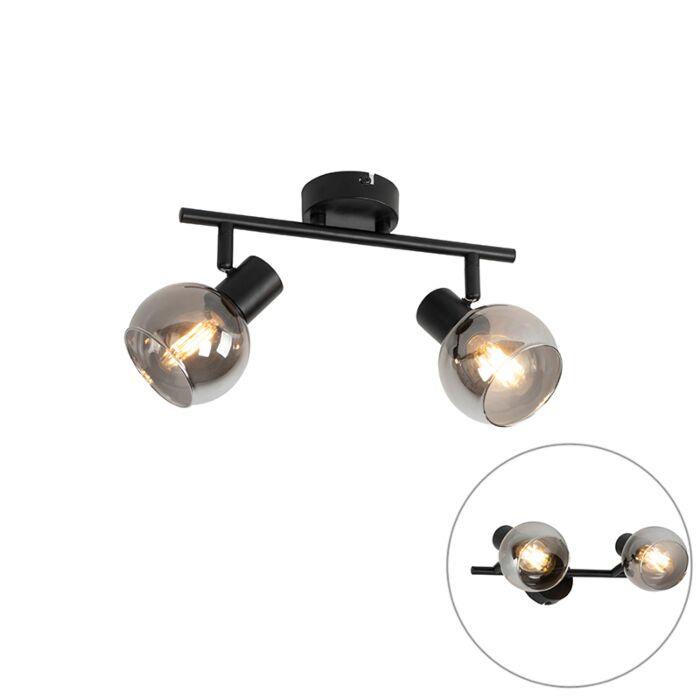 Art-Deco-plafondlamp-zwart-met-smoke-glas-2-lichts---Vidro