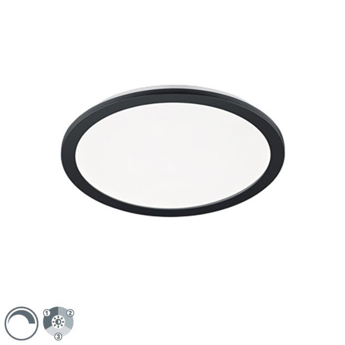 Plafonnière-rond-zwart-40-cm-incl.-LED-3-staps-dimbaar-IP44---Lope