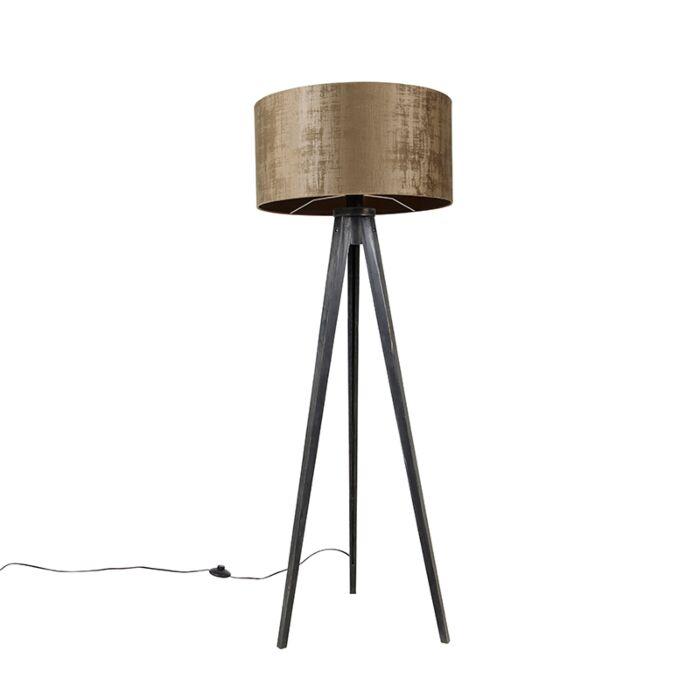 Vloerlamp-tripod-zwart-met-kap-bruin-50-cm---Tripod-Classic