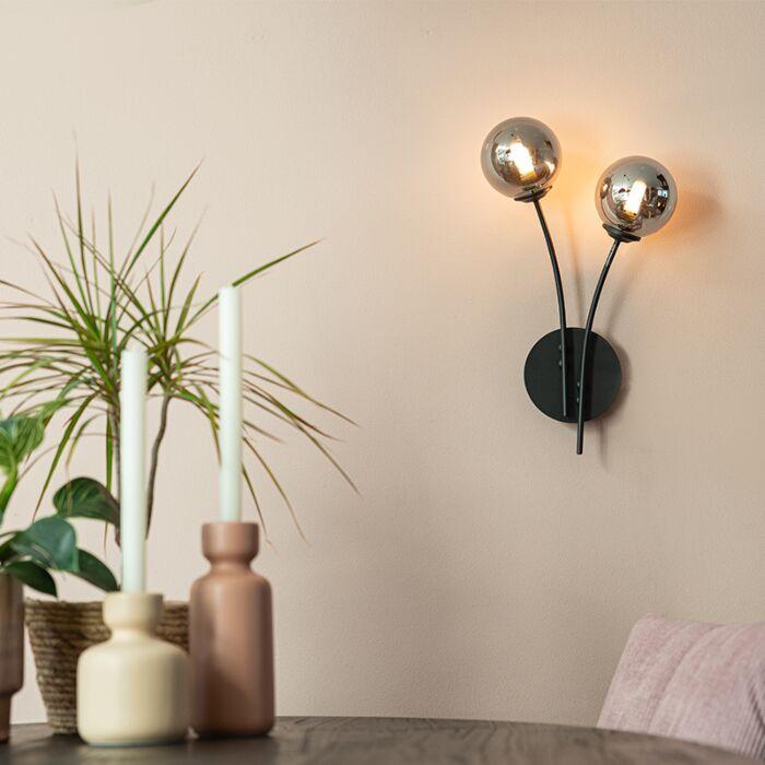 Moderne-wandlamp-zwart-2-lichts-met-smoke-glas---Athens