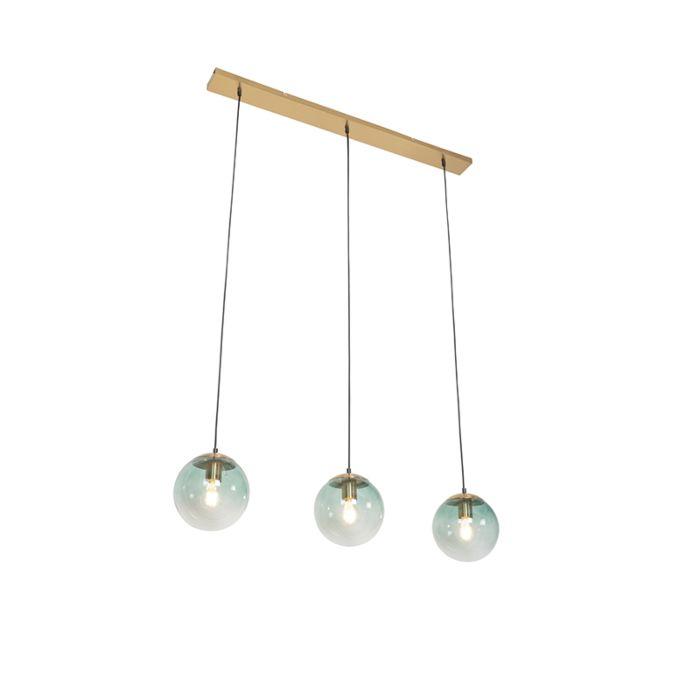 Art-Deco-hanglamp-messing-met-groen-glas-3-lichts---Pallon