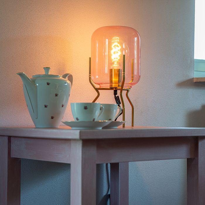 Art-Deco-tafellamp-messing-roze-glas---Bliss