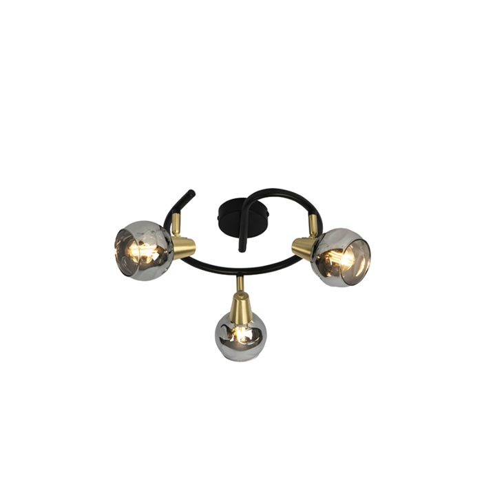 Plafondlamp-zwart-44,5-cm-met-smoke-glas-3-lichts---Vidro
