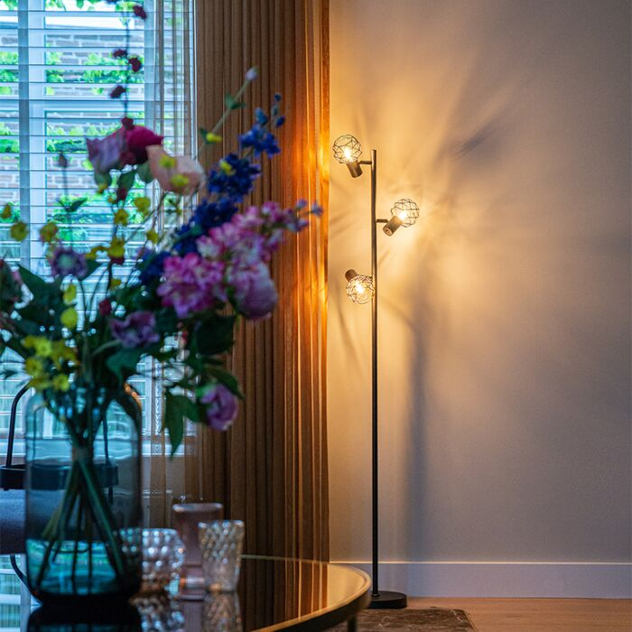 Design-vloerlamp-zwart-3-lichts-verstelbaar---Mesh