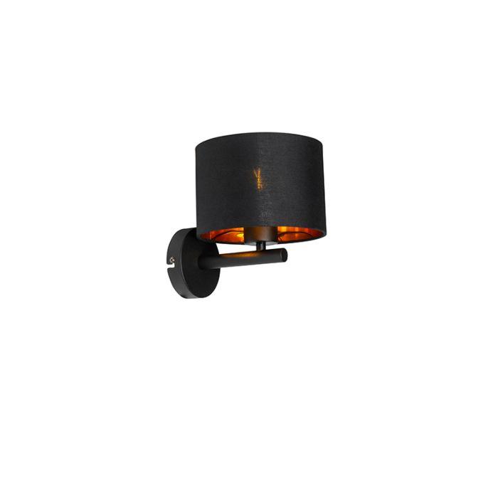 Moderne-wandlamp-zwart-met-goud-rond---VT-1