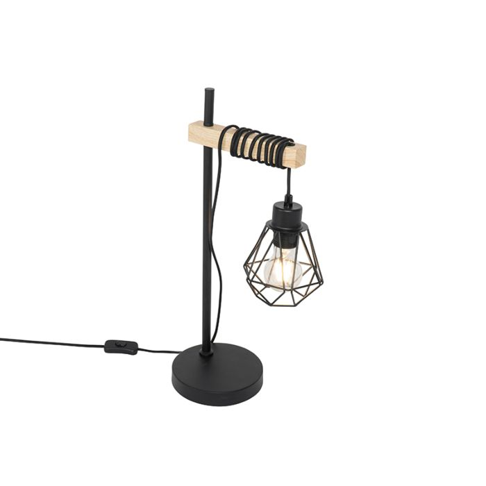 Landelijke-tafellamp-zwart-met-hout---Chon