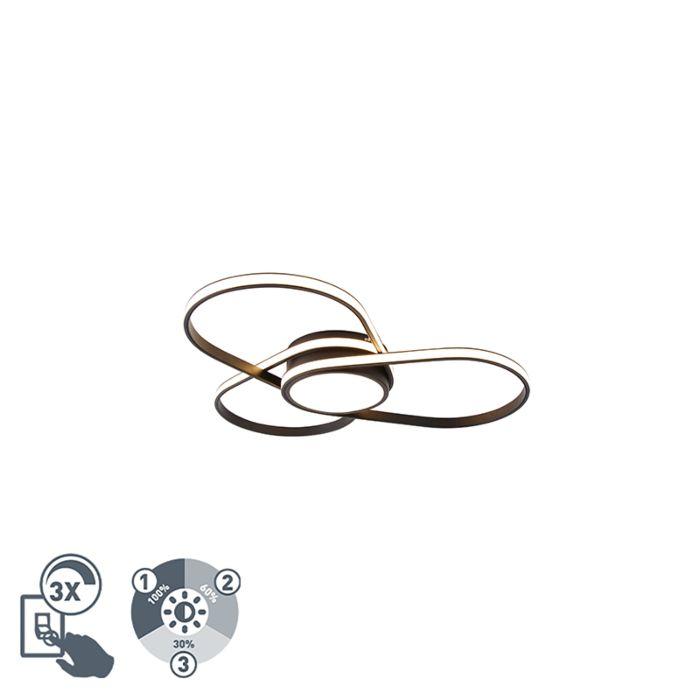 Design-plafondlamp-zwart-incl.-LED-3-staps-dimbaar---Spas