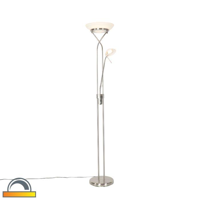 Vloerlamp-staal-met-leeslamp-incl.-LED-en-dim-to-warm---Empoli