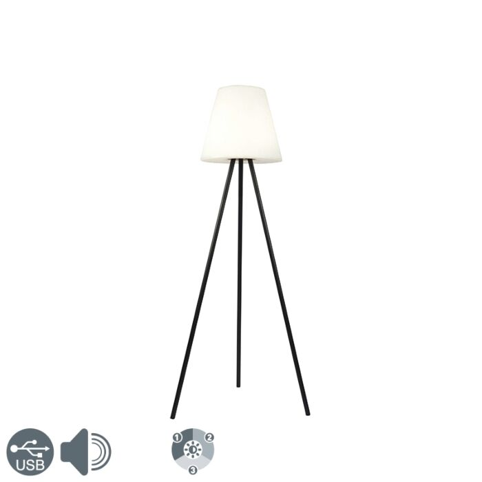 Moderne-buiten-vloerlamp-zwart-IP44-incl.-LED-op-solar---Virginia