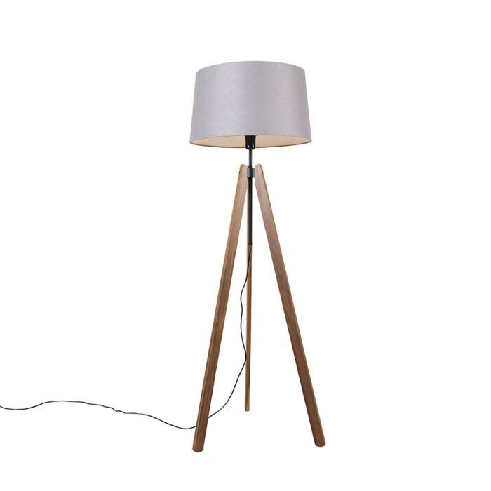 Vloerlamp-tripod-bruin-met-linnen-kap-donkergrijs-45-cm---Telu