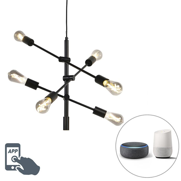 Smart-industriële-hanglamp-zwart-incl.-6-WiFi-ST64---Sydney