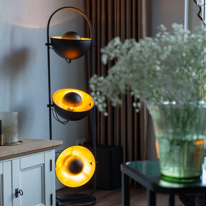 Industriële-vloerlamp-zwart-met-goud-3-lichts---Emilienne-Novo