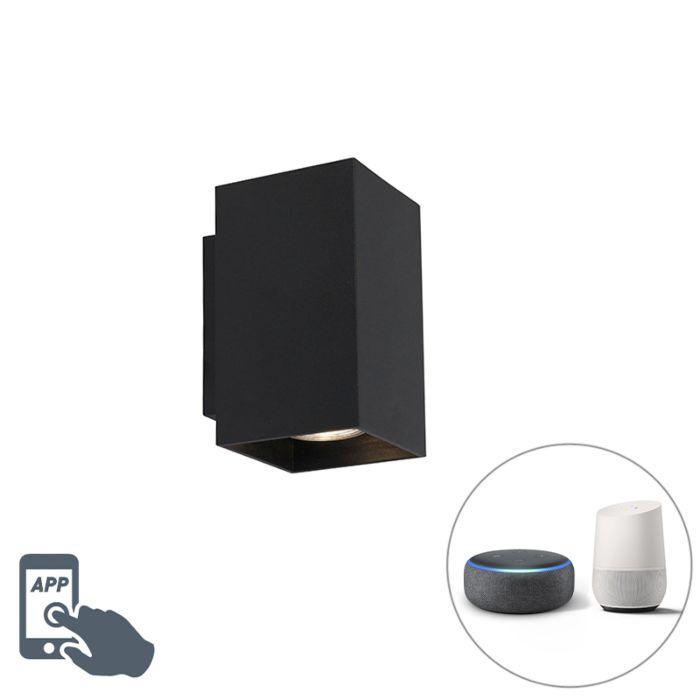 Moderne-Smart-wandlamp-zwart-incl.-2-WiFi-GU10---Sandy
