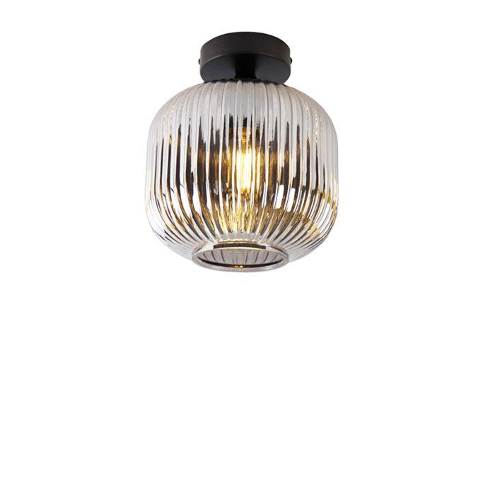 Art-Deco-plafondlamp-zwart-met-smoke-glas---Karel