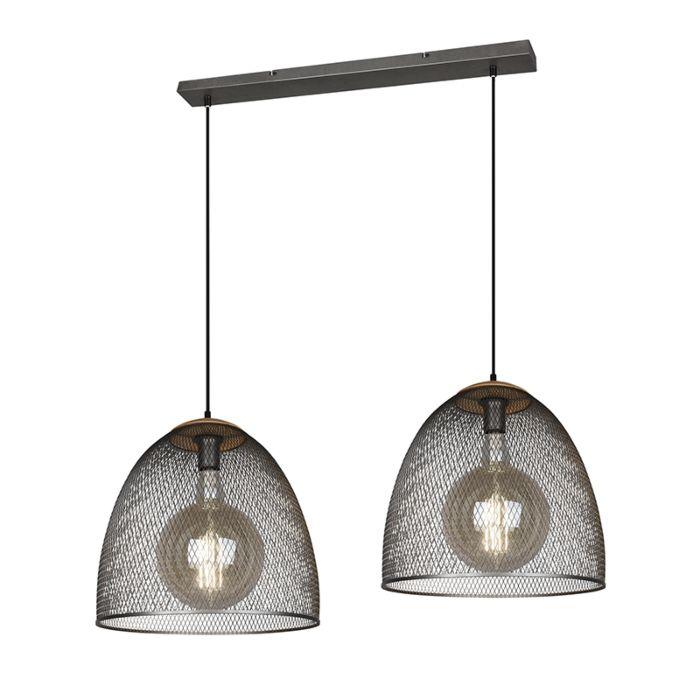 Industriële-hanglamp-staal-2-lichts---Ravi