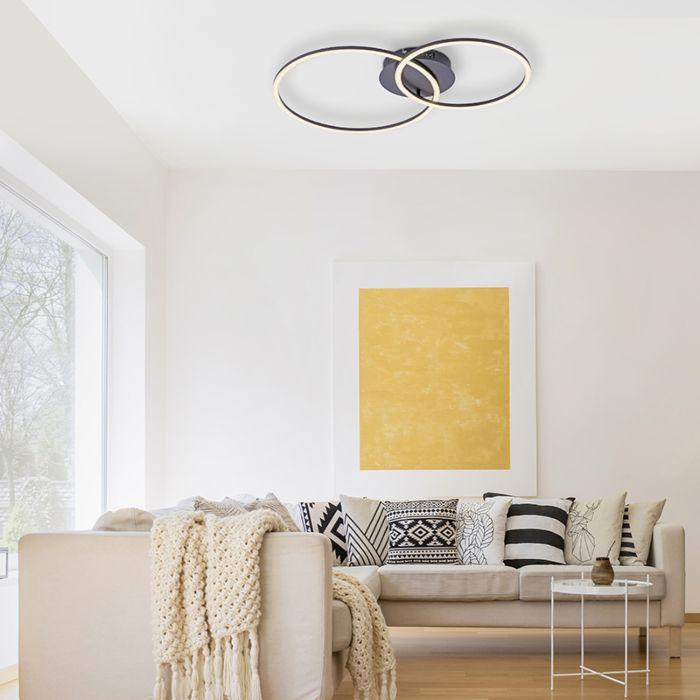 Plafondlamp-zwart-incl.-LED-en-dimbaar-2-lichts---Julka
