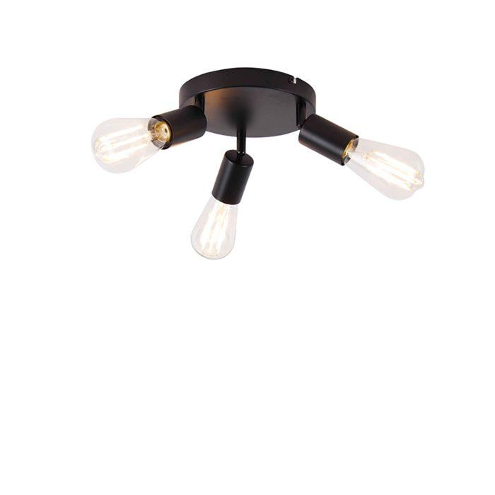 Moderne-plafondlamp-zwart-3-lichts-rond---Facil