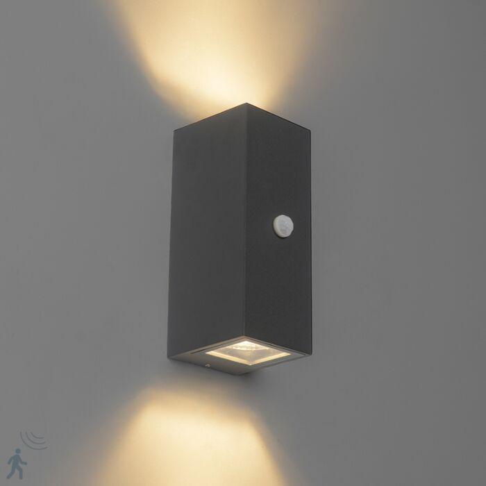 Moderne-wandlamp-antraciet-IP44-met-bewegingssensor---Baleno-II