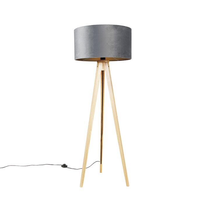 Vloerlamp-hout-met-stoffen-kap-grijs-50-cm---Tripod-Classi