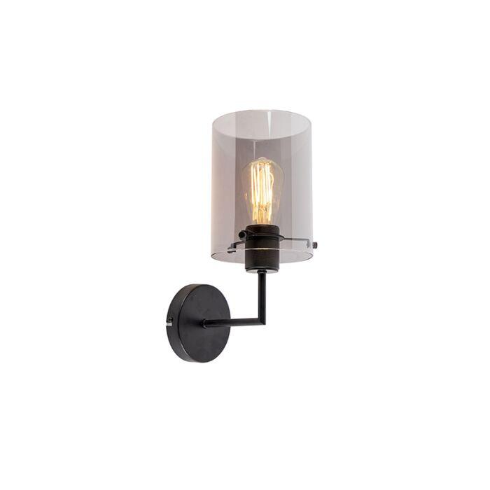 Design-wandlamp-zwart-met-smoke-glas---Dome