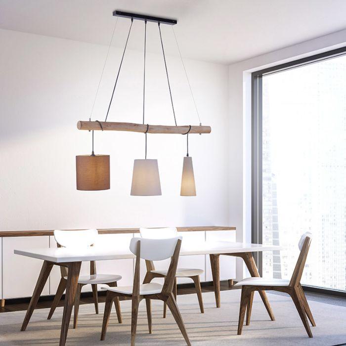 Landelijke-hanglamp-bruin-met-hout-3-lichts---Vinnie