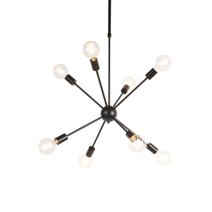 Design-hanglamp-zwart-8-lichts---Sputnik