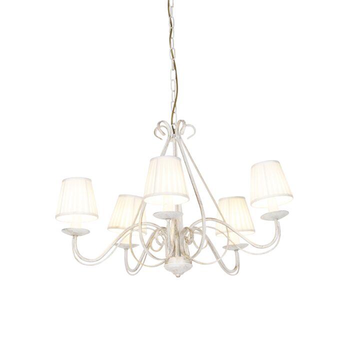 Kroonluchter-wit-plissé-crème-klemkap-5-lichts---Giuseppe