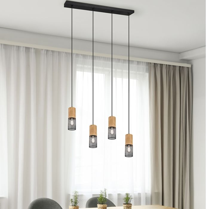 Industriële-hanglamp-zwart-met-hout-4-lichts---Manon
