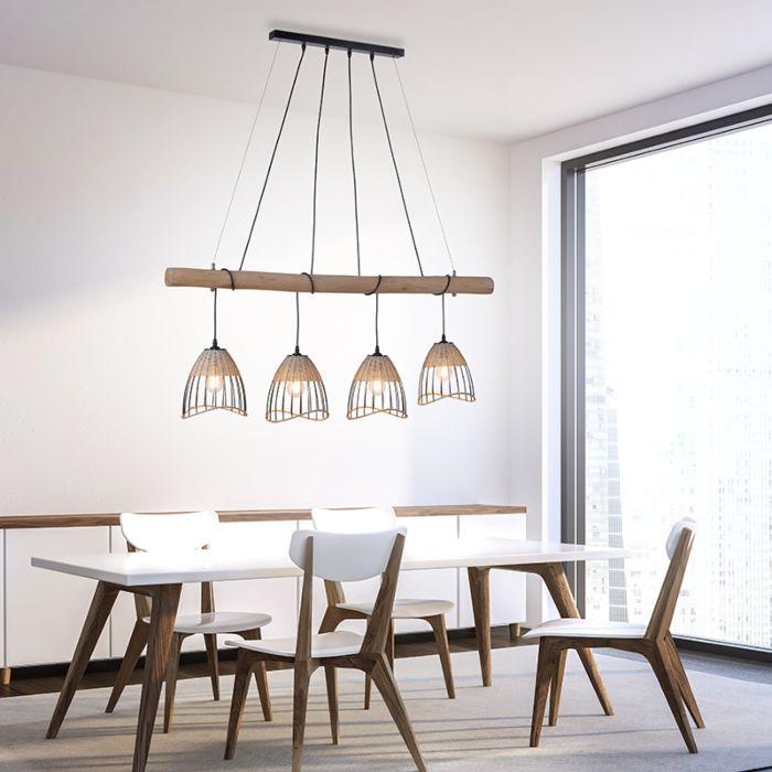 Landelijke-hanglamp-zwart-met-riet-4-lichts---Treccia-Pua