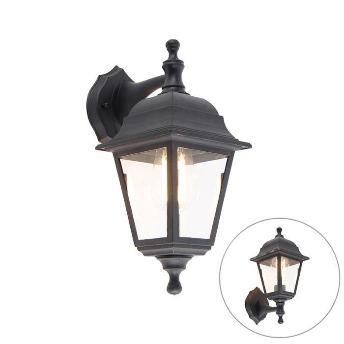 Klassieke-buiten-wandlamp-zwart-IP44---Capital