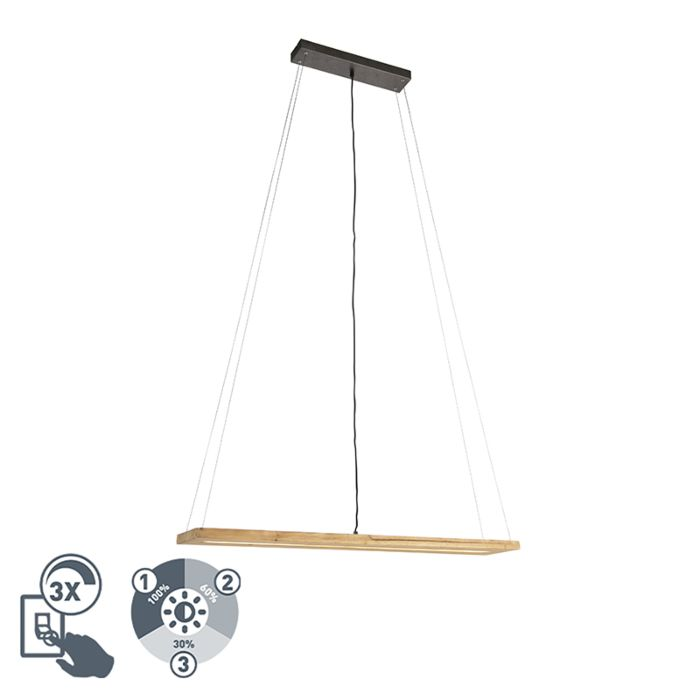 Landelijke-hanglamp-hout-incl.-LED-3-staps-dimbaar---Linc