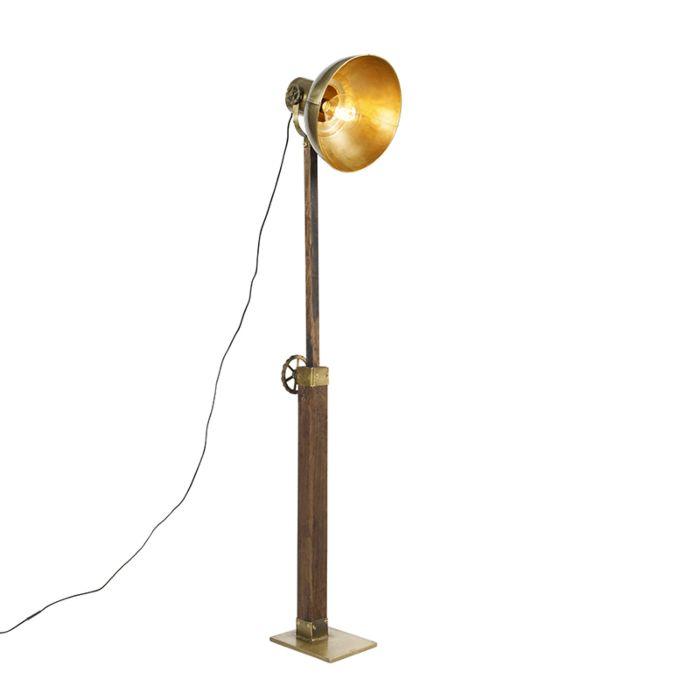 Industriële-vloerlamp-brons-met-hout---Mangoes