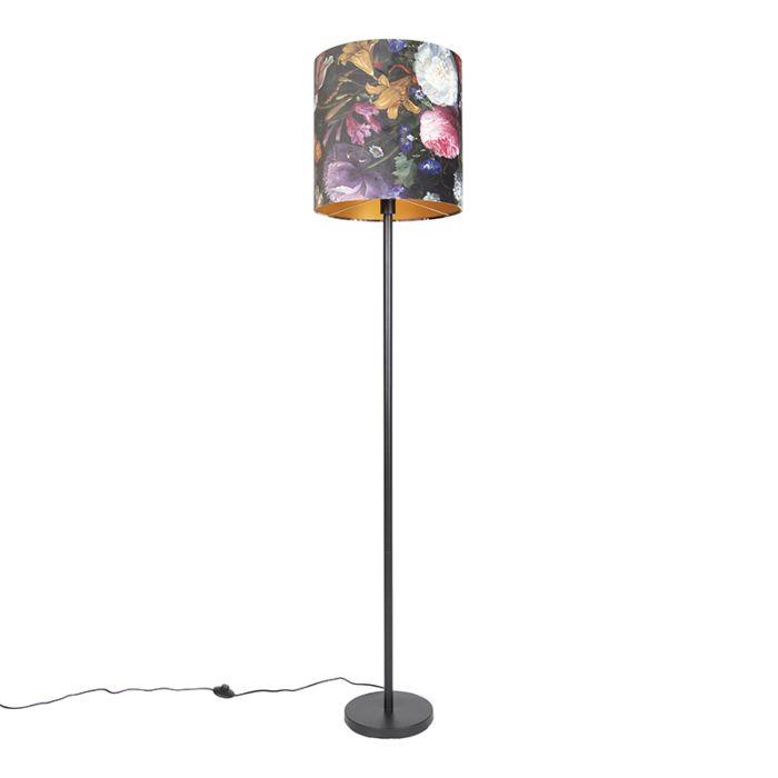 Romantische-vloerlamp-zwart-met-bloemen-kap-40-cm---Simplo