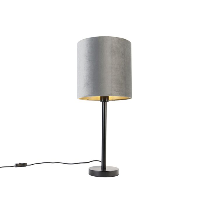 Moderne-tafellamp-zwart-met-kap-grijs-25-cm---Simplo