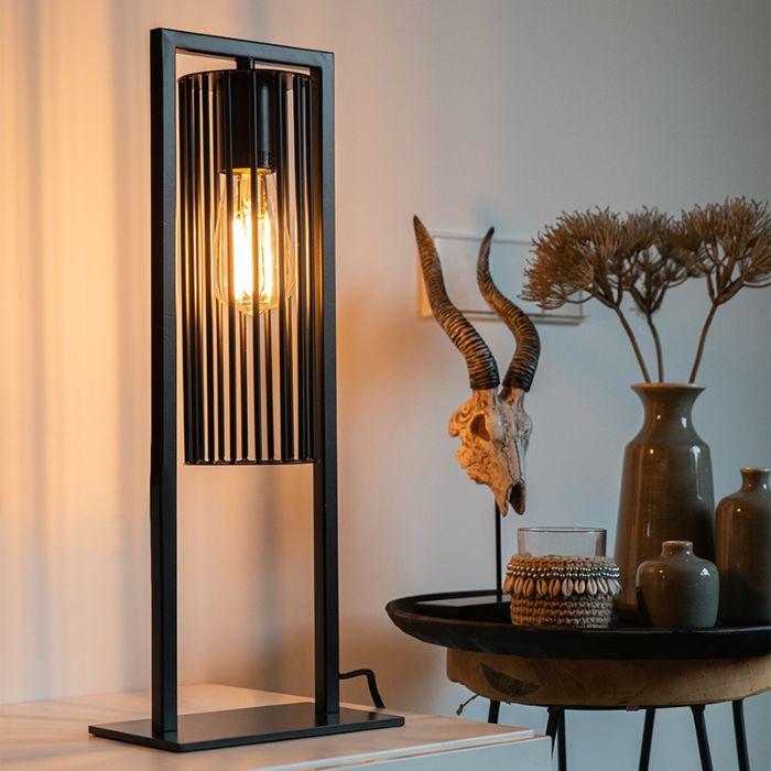 Moderne-tafellamp-zwart---Balenco-Wazo