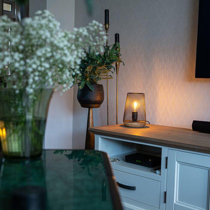 Design-tafellamp-zwart-met-hout---Bosk