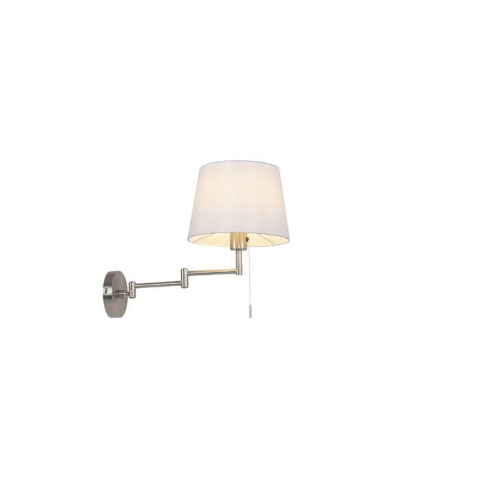 Wandlamp-staal-met-witte-kap-en-verstelbare-arm---Ladas