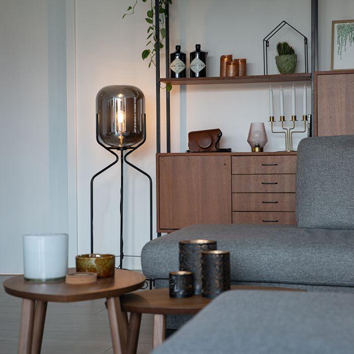Design-vloerlamp-zwart-met-smoke-glas---Bliss