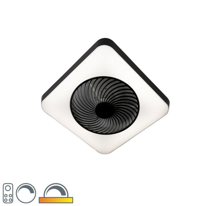 Plafondventilator-vierkant-zwart-incl.-LED-dimbaar---Climo