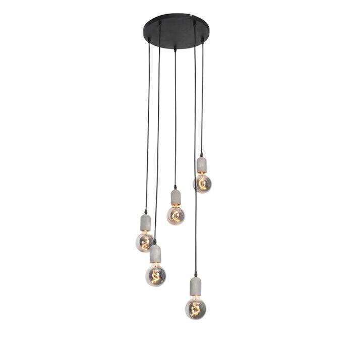 Industriële-hanglamp-zwart-met-beton-rond-5-lichts---Pedra