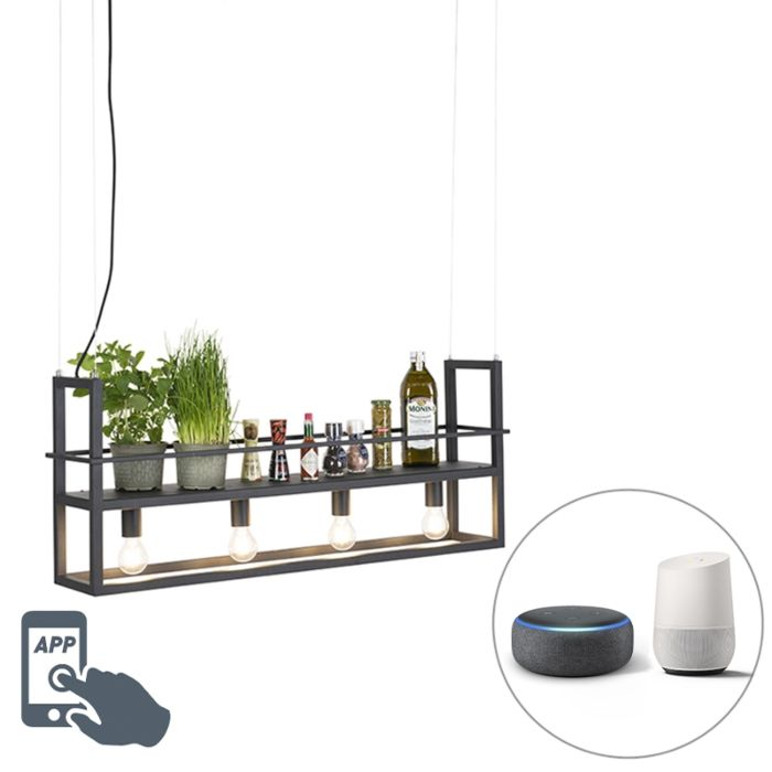 Smart-hanglamp-zwart-incl.-WiFi-A60-lichtbronnen---Cage-Rack