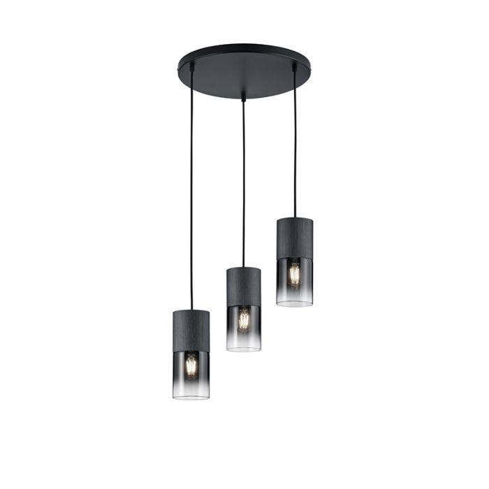 Moderne-hanglamp-zwart-3-lichts---Huygen