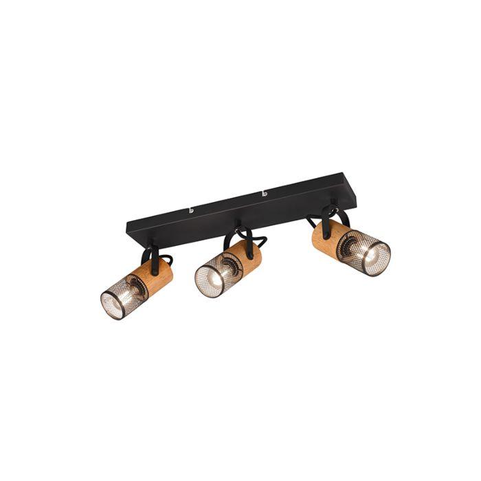 Industriële-spot-zwart-met-hout-3-lichts---Manon