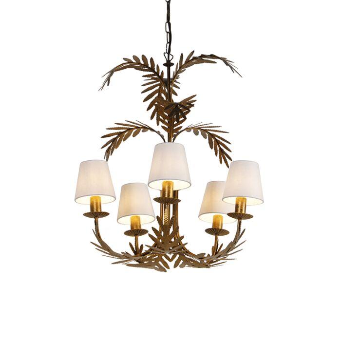 Art-Deco-kroonluchter-goud-5-lichts-met-witte-kappen---Botanica